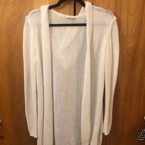 Open Knit hooded long cardigan